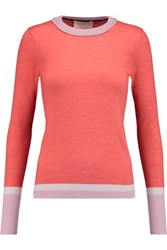 Roksanda Ilincic Color Block Wool Silk And Cashmere Blend Sweater Coral