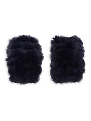 Jocelyn Fingerless Fur Gloves Navy