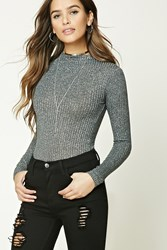 Forever 21 Glitter Knit High Neck Bodysuit Charcoal Silver