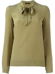 Roberto Collina Ribbon Collar Blouse Green