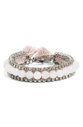 Women's Ettika Rhinestone And Bead Bracelet Antique Silver