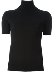 P.A.R.O.S.H. Roll Neck Short Sleeved Blouse Black