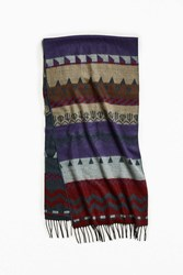 Urban Outfitters Pattern Woven Scarf Brown Multi