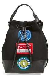 Opening Ceremony 'Izzy Fruit Sticker' Wool And Leather Backpack Black Multi