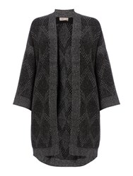 Label Lab Anwell Charcoal Marl Supersoft Jaquard Kimono Charcoal Marl