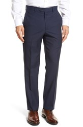 Santorelli Men's Big And Tall Flat Front Check Virgin Wool Trousers Navy