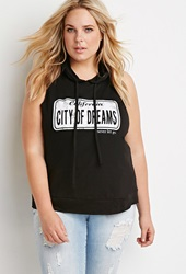 Forever 21 City Of Dreams Hooded Tank Black Ivory