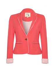 Yumi Ponte Blazer With White Piping Trim Coral