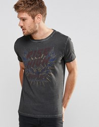 Replay Rise High Logo Print T Shirt In Washed Black Black
