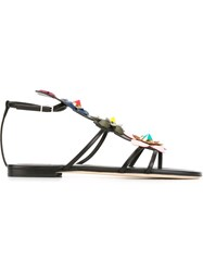Fendi Floral Embellished Sandals Black