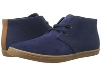 Fred Perry Byron Mid Suede Woven Canvas Carbon Blue Navy Men's Shoes