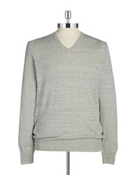 Black Brown Ribbed V Neck Sweater Dawn Grey