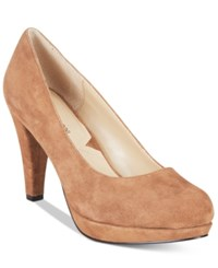Adrienne Vittadini Prestin Platform Pumps Women's Shoes Taupe Kid Suede