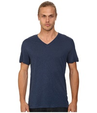 John Varvatos Short Sleeve Knit V Neck With Pintuck Seam Details Regal Blue Men's Clothing