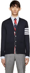 Thom Browne Navy Wool Striped Armband Cardigan