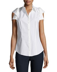 Michael Kors Collection Origami Sleeve Button Front Shirt Optic White Women's Size 8