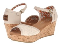 Toms Platform Wedge Natural Textured Woven Cork Women's Wedge Shoes Neutral