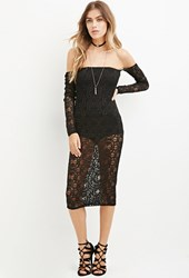 Forever 21 Ornate Lace Off The Shoulder Dress Black