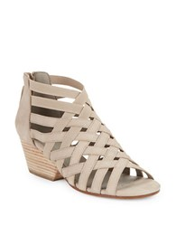 Eileen Fisher Oodle Nubuck Cross Strapped Stacked Wedge Sandals Barley