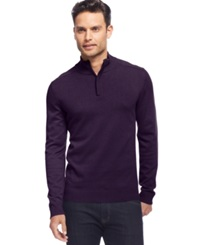 Alfani Red Solid Slim Fit Quarter Zip Sweater Port Wine Heather