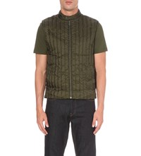 Michael Kors Quilted Crepe Gilet Fatigue Green