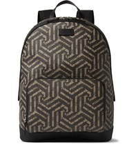 Gucci Leather Trimmed Geometric Print Coated Canvas Backpack Brown