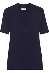 Frame Le Classic Ribbed Silk And Cashmere Blend Top Navy