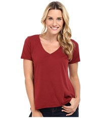 The Beginning Of Olivia V Neck High Low Tee Bordeaux Women's Short Sleeve Pullover Burgundy
