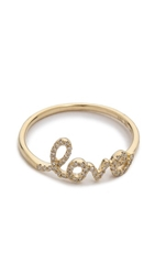 Ef Collection Diamond Love Ring Yellow Gold Clear