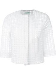 P.A.R.O.S.H. Crochet Crop Jacket White