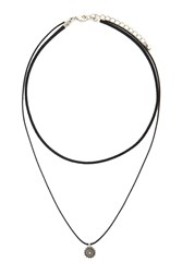 Forever 21 Layered Medallion Choker B.Silver Black