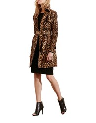Lauren Ralph Lauren Ocelot Print Double Breasted Trench Coat Brown Multi