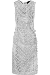 Simone Rocha Metallic Embroidered Tulle Dress Silver Gray