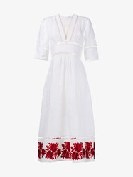 Zimmermann Roza Border Paneled Linen Dress Red White Linen Rose