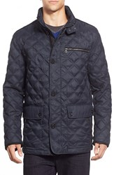 Bugatchi Three Quarter Length Quilted Jacket Navy