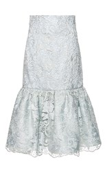 Costarellos Embroidered Lace Fluted Skirt Green