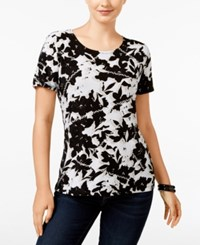 Jm Collection Short Sleeve Printed Top Only At Macy's Deep Black