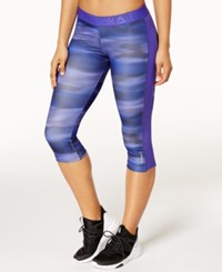 Reebok Printed Capri Leggings Purple