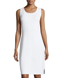 St. John Santana Scoop Neck Knit Tank Dress Bright White
