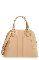 Sole Society 'Marlow' Structured Faux Leather Dome Satchel Beige Taupe