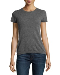 Neiman Marcus Cashmere Crewneck Short Sleeve Sweater Derby Gray