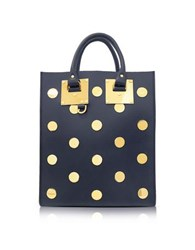 Sophie Hulme Midnight Navy Saddle Leather Albion Mini Tote Bag Navy Blue