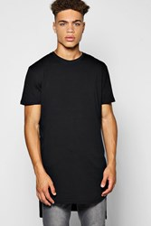 Boohoo Hi Lo Step Hem T Shirt Black