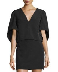 Milly Beetle Butterfly Sleeve V Neck Top Black