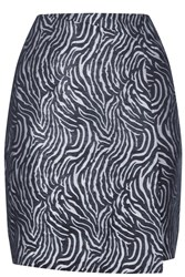 Warehouse Zebra Metallic Pelmet Skirt Black