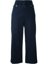 Paul By Paul Smith Cropped Wide Leg Trousers Blue