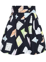 Olympia Le Tan Book Print Skater Skirt Black