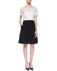 Kay Unger New York Short Sleeve Lace Top Jacquard Skirt Dress