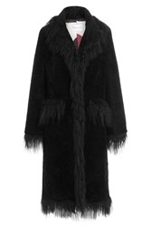 Saks Potts Fur Coat With Fringe Black