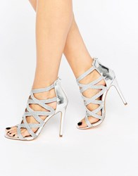 New Look Metallic Caged Heeled Shoe Silver